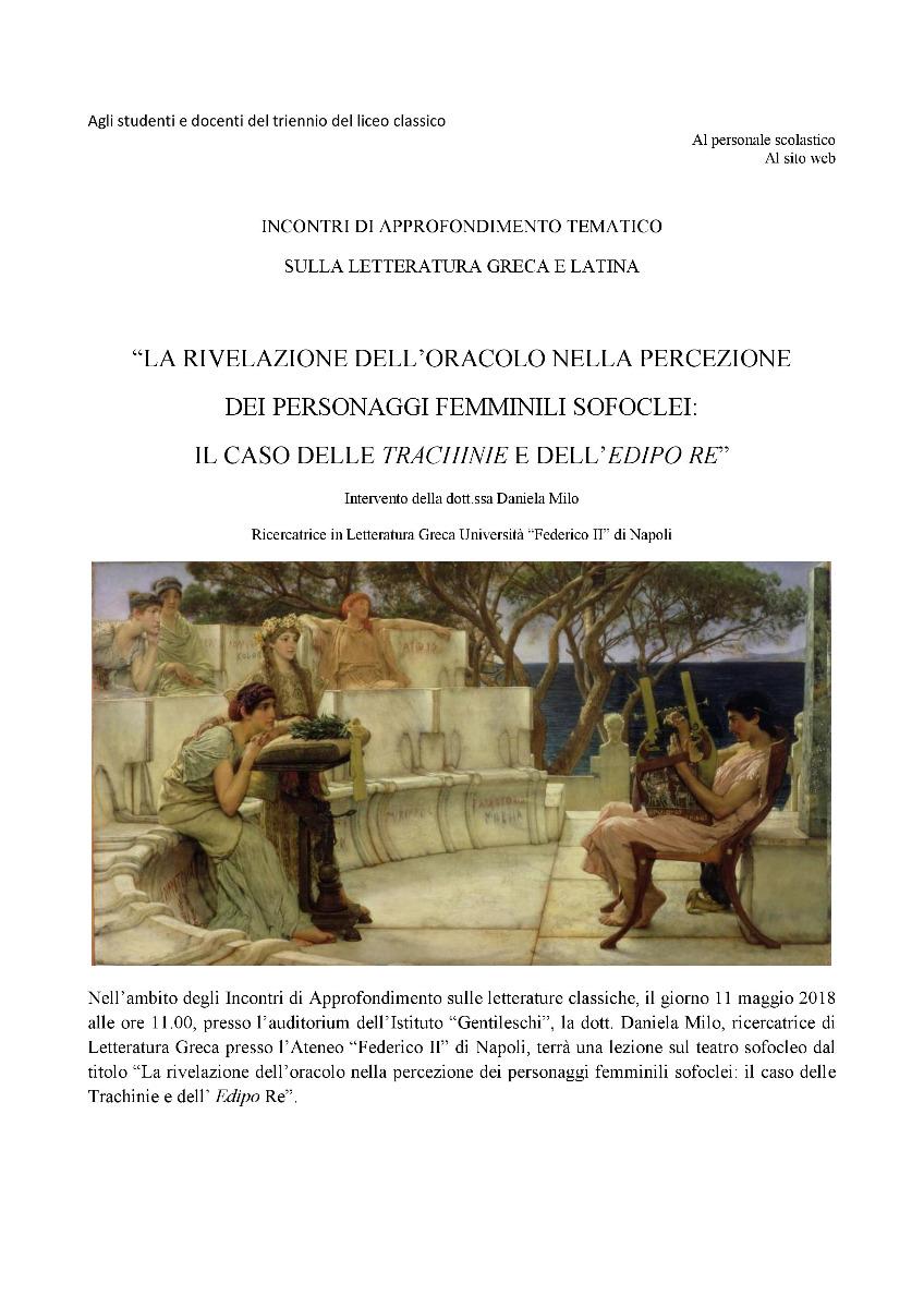 Incontro di approfondimento sulle Letterature classiche: conferenza della dott.ssa Daniela Milo