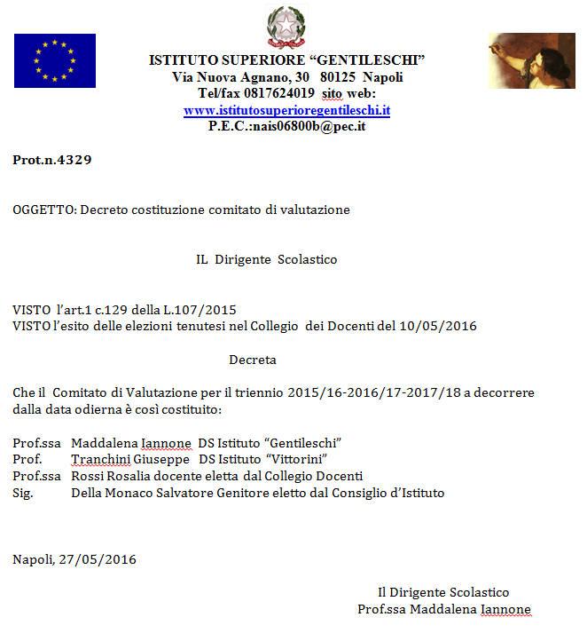 Decreto Comitato Valutazione