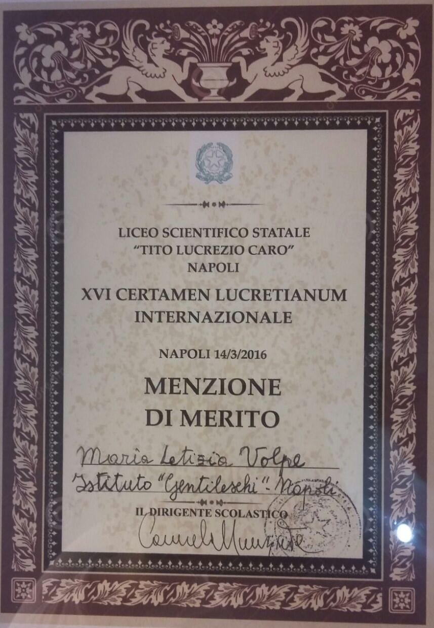 Menzione di Merito Maria Letizia Volpe